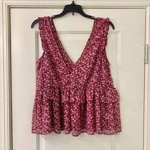 AEO Red Floral Boho Ruffle Top Size Med NWT